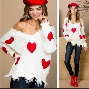 Love Me Distressed Heart Printed Sweater